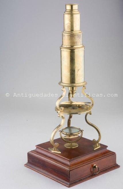 Microscopio ingles antiguo XVIII