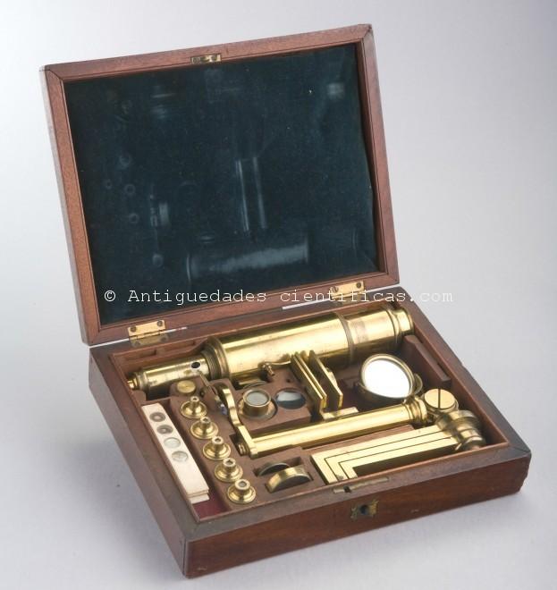 excepcional microscopio siglo XVIIII